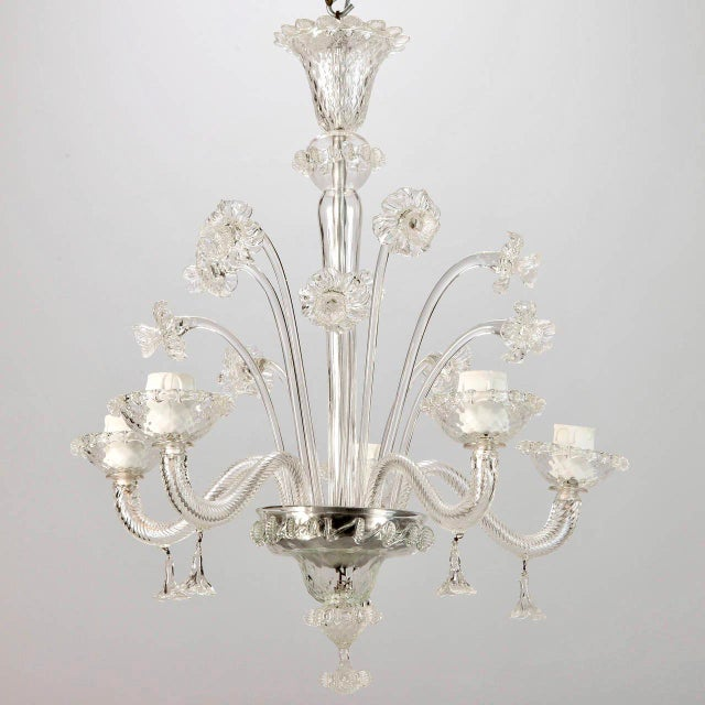 Transpa Italian Venetian 5 Light Clear Glass Daffodil Chandelier For Image 8 Of