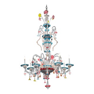 Venetian Murano Glass Chandelier For Sale
