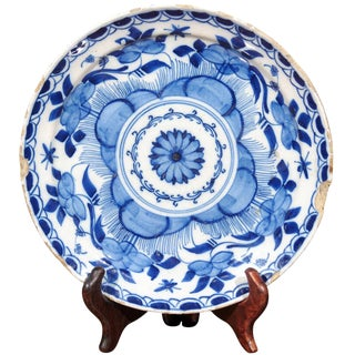 18th Century Transitional Blue Delft Plate