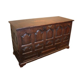 Antique 1730s Welsh Oak Coffer For Sale