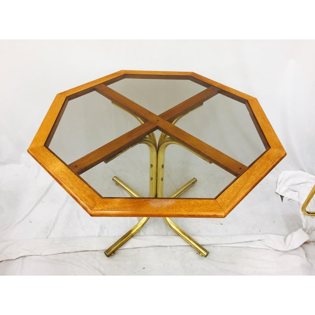 Vintage Mid-Century Modern Chrome Craft Brass & Wood Table For Sale - Image 5 of 10