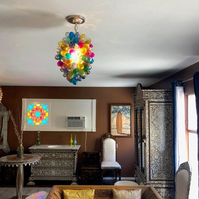 Light Fixture of Stained Hand Blown Glass For Sale - Image 4 of 10