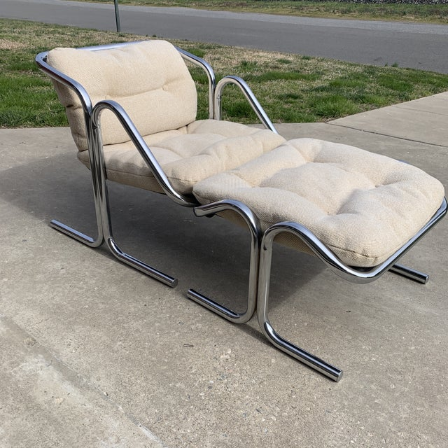Mid-Century Modern 70s Jerry Johnson Chrome Sling Chair & Ottoman For Sale - Image 3 of 10