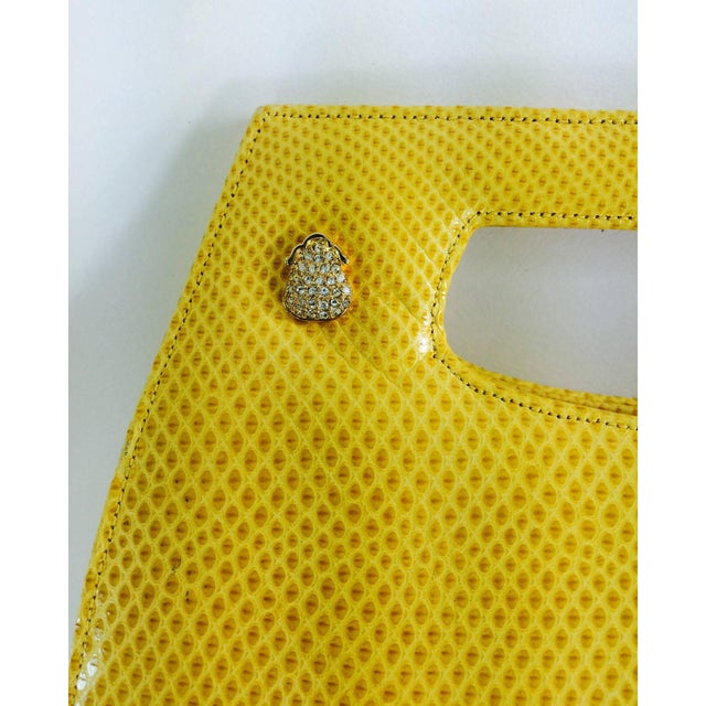 Judith Leiber bright yellow karung leather structured handle handbag...Perfect for evening & cocktails...The bag has a set...