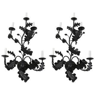Satin Black Five-Light Wall Sconces Acorn Leaf Motif by William Switzer - a Pair For Sale