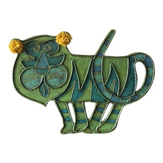 Contemporary Glazed Tiger Whimsical Wall Hanging For Sale