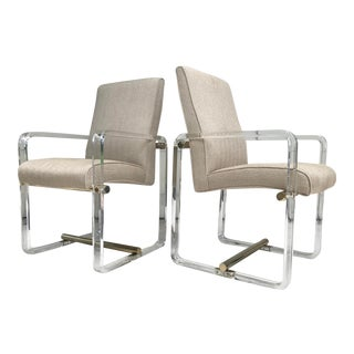 Upholstered Brass and Lucite Armchairs - a Pair For Sale