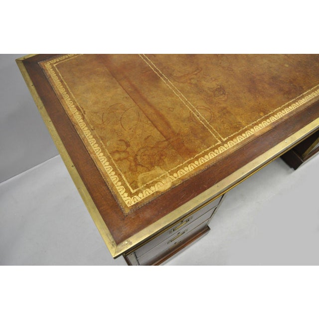 Gold 19th Century Campaign Mahogany Partner Desk For Sale - Image 8 of 13