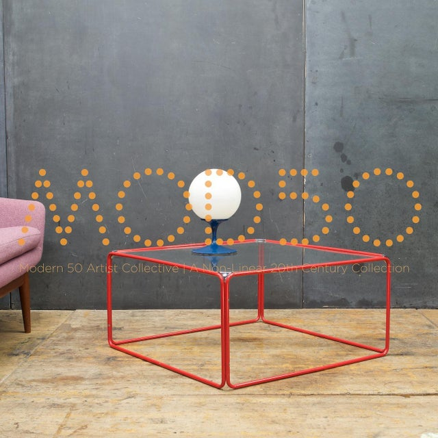 1980s Retro Pool House Cube Table Low Red Tubular Vintage Midcentury Minimal Baughman For Sale - Image 5 of 6