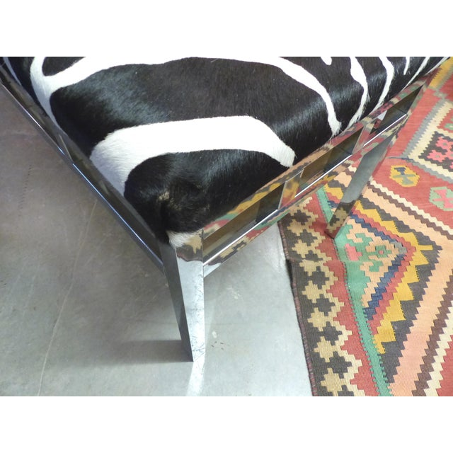 Zebra Hide Covered Mid-Century Bench For Sale In Miami - Image 6 of 7