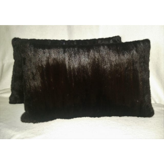 This is a pair of large dark brown, almost black mink pillows. The mink is the richest dark brown seemingly black, high...