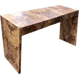 1970s Hollywood Regency Burl Effect Console Table For Sale