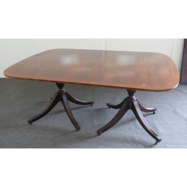 Baker Georgian Style Double Pedestal Dining Table For Sale - Image 11 of 11