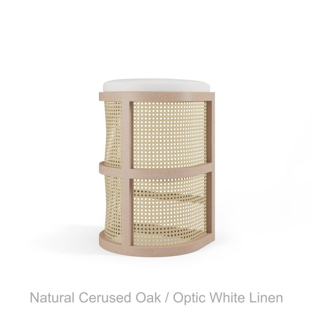 Not Yet Made - Made To Order Isabella Bar Stool - Natural Cerused Oak, Optic White Linen For Sale - Image 5 of 5