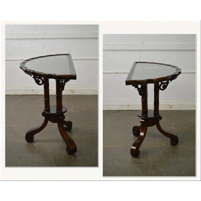 *STORE ITEM #: 17748-fwmr William IV/English Regency Style Solid Mahogany Scalloped Top Demilune Pedestal Side Table AGE /...