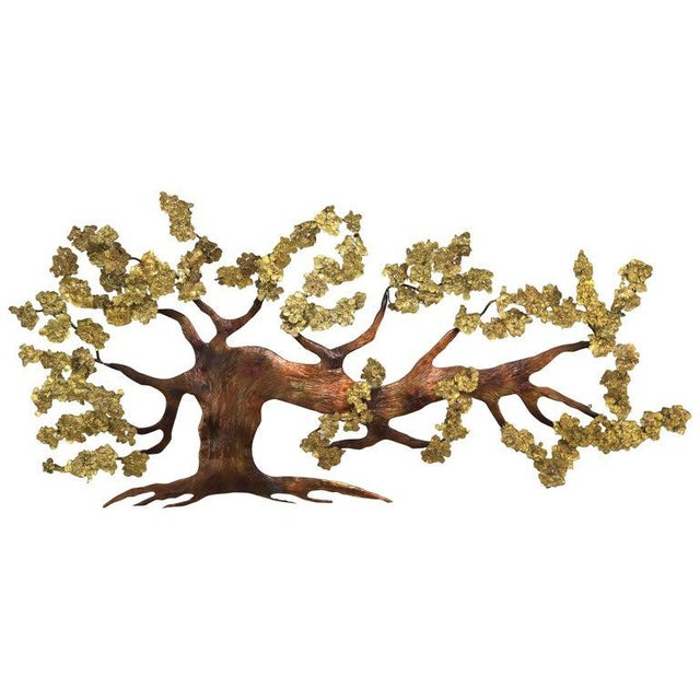 Very Large Tree of Life Metal Brass and Copper Wall Hanging Sculpture For Sale - Image 11 of 11