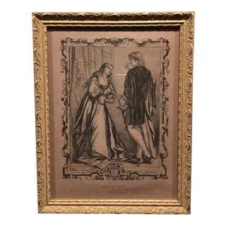 Mid-1800s English Engraving by William Luson Thomas of Shakespeare's Hamlet and Ophelia, Framed For Sale