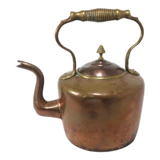 Large Antique Hand Made Copper & Brass Tea Kettle For Sale