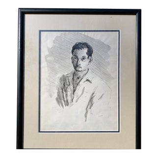 Vintage Original Pen and Ink Drawing of a Man For Sale