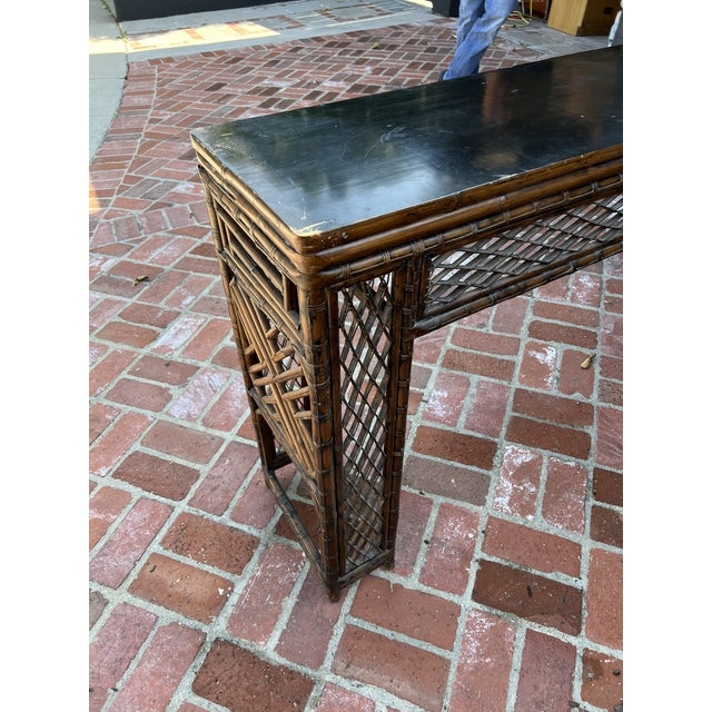 Brown Antique Bamboo Chinoiserie Console For Sale - Image 8 of 12