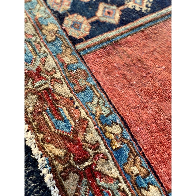 1930s Vintage Persian Mazlaghan Rug - 4′5″ × 5′10″ For Sale - Image 11 of 12