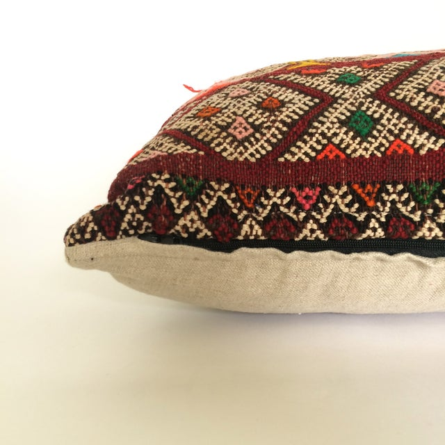 Burgundy Turkish Kilim Pillow - Image 6 of 11