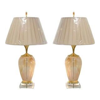 Exquisite Pair of Blown Murano Vessels as Custom-Made Lamps For Sale