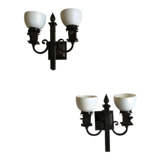 Arts and Crafts Gas-Electric Wall Sconces With Steuben Shades - A Pair For Sale