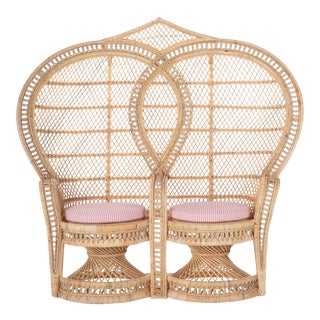 Double Peacock Chair W/ Coral Stripe Cushion For Sale