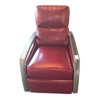 Comfort Design Inc. American Leather Red Swivel Recliner For Sale