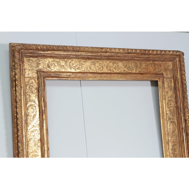 Monumental Hand-Carved and Gilded Florentine Picture Frame For Sale - Image 4 of 11