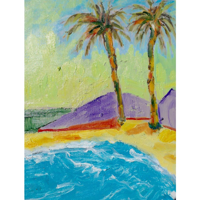 Contemporary plein air landscape of two palm trees in the breeze on a California beach. Soft glowing colors are very...