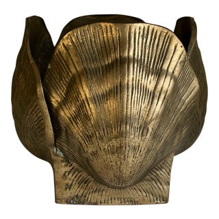 Vintage Brass Seashell Planter For Sale