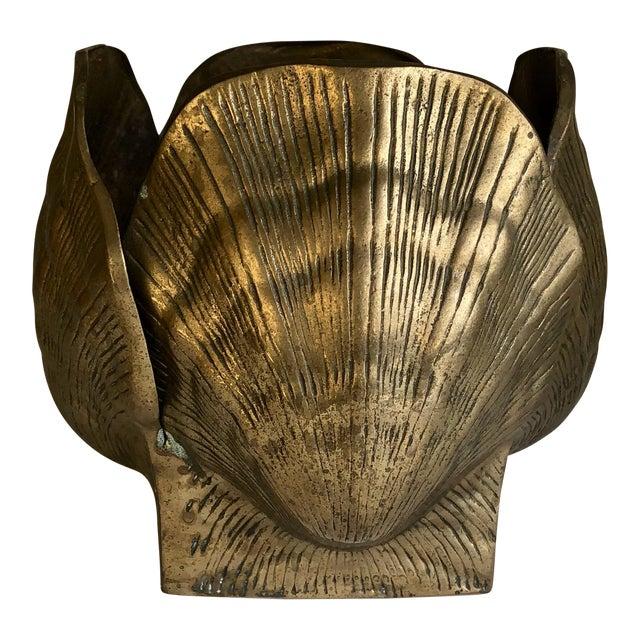 Vintage Brass Seashell Planter For Sale