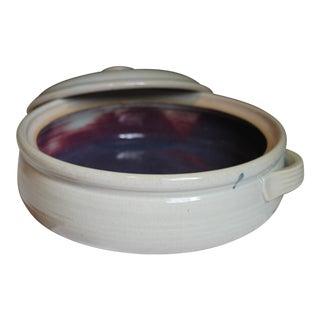 Off-White & Eggplant Casserole Dish For Sale