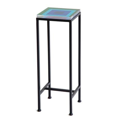Wendy Concannon Contemporary Ellsworth Acrylic Drinks Table – Base: European Blue, Top: Squares Hunter/Sky For Sale - Image 4 of 4