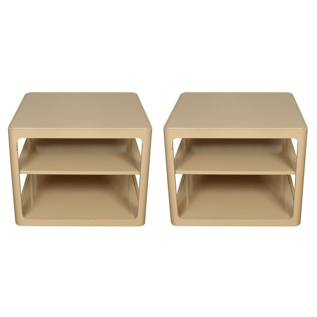 Mid-Century Modern Mid 20th Century Karl Springer Style Tiered Side Tables - a Pair For Sale - Image 3 of 3