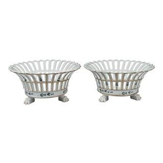 Rare Tucker & Hemphill American Porcelain Reticulated Fruit Baskets - A Pair For Sale