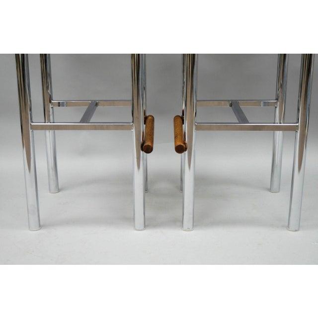 Pair Mid Century Modern Chrome & Oak Wood Barstools Bar Stools Vtg Baughman Era - Image 4 of 11