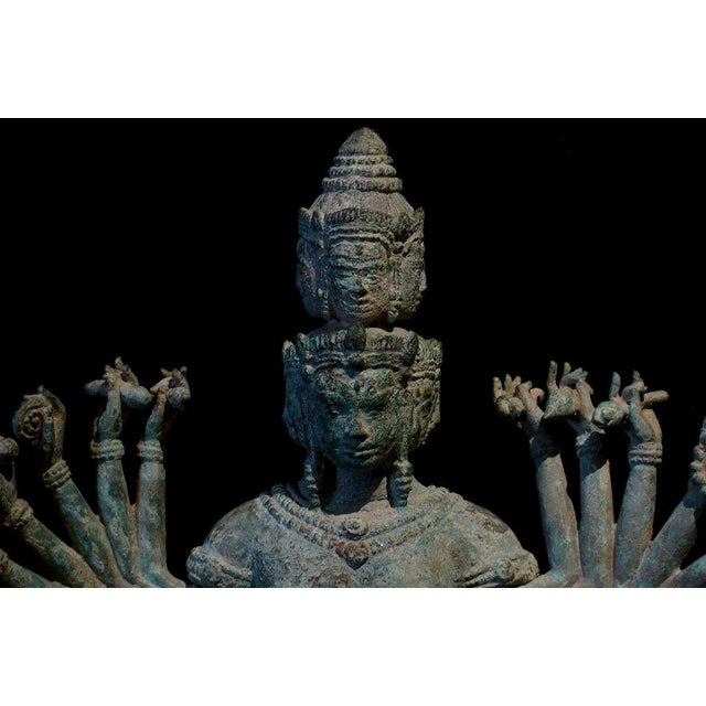 15th Century & Earlier A Khmer Bronze Figure of Prajnaparamita with Eleven Faces For Sale - Image 5 of 8