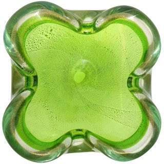 Murano Sommerso Green Gold Flecks Italian Art Glass Decorative Folded Rim Bowl For Sale