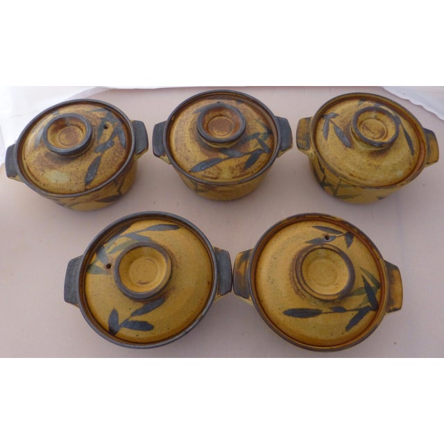 Asian Chinoiserie Inspired Studio Pottery Covered Soup Bowls ~ Set of Five For Sale - Image 3 of 13