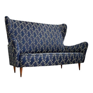 Early 20th Century Italian High Back Winged Settee