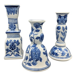 Vintage Blue and White Chinoiserie Candlesticks - Set of 3 For Sale