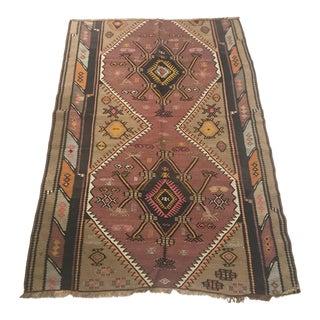 Vintage Anatolian Handmade Pastel Kilim Rug- 4'6x6'8 For Sale