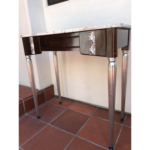 Art Deco Silver Leaf and Dark Wood Vanity Table For Sale In Los Angeles - Image 6 of 7