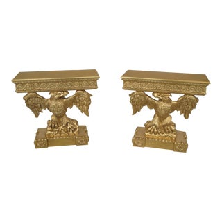 Federal Friedman Brothers Full Eagle Carved Gild Console Tables - a Pair For Sale