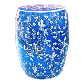 Chinoiserie Porcelain Blue and White Garden Stool With Butterflies For Sale