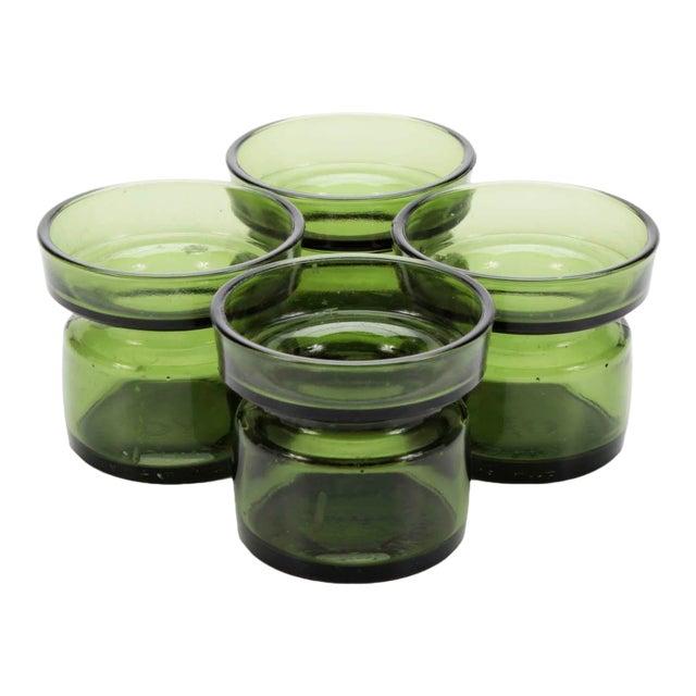 Vintage Jens Quistgaard Dansk Designs Green Glass Candleholders, Set of 4 For Sale