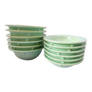 "Mid-Century Green ""Prolon"" Bowls - Set of 12 For Sale"